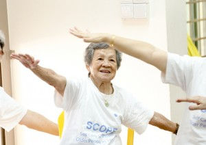One of the oldest SCOPE Program participants, Madam Leow thoroughly enjoys the group exercises.